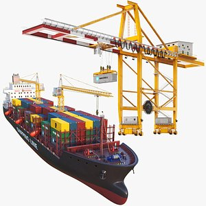 Container Ship With Crane 3D model