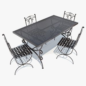wrought-iron table chairs 3D model