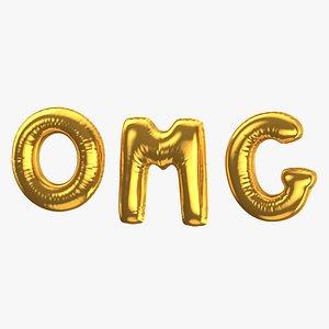 Foil Balloon Words OMG Gold 3D