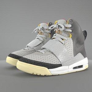 3D Nike Air Yeezy 1 Zen Grey pbr model