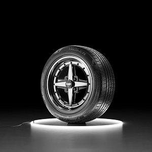 Car wheel NEXEN NFERA AU7 tire with WORK EQUIP 01 3D model