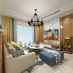 3D Living  Dining Room Combo model