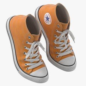 3D Basketball Leather Shoes Bent Orange model