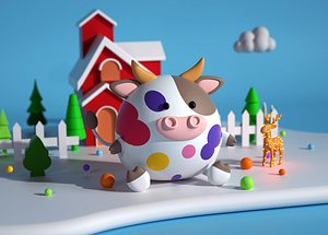 Cow flower cow lovely cartoon cow Q version fat cow mascot IP C4D advertising 3D model