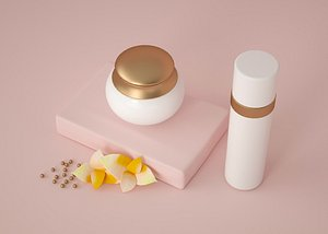 3D Face cream, foundation, cosmetics, rouge, skin care products, sunscreen is simple and clean