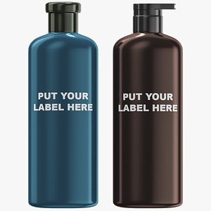 cosmetics dispensers set shampoo 3D model