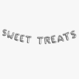 Foil Baloon Words Sweet treats Silver 3D model