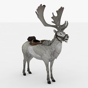 3D White Giant Deer Rigged