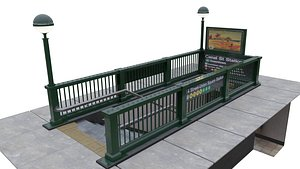 Subway Entrance - New York Subway Station 3D