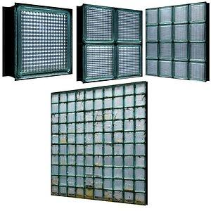 4 Models Glass Blocks 01 3D