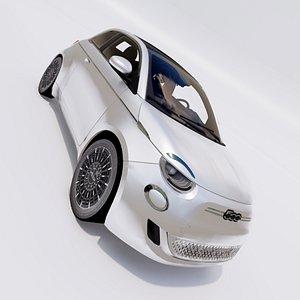 3D 2021 Fiat 500 e model model