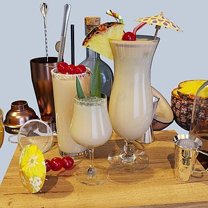 3D cocktail set pina colada model