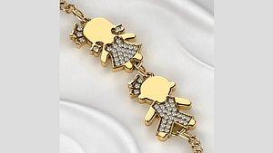 3D Girl and Boy Gold Bracelet