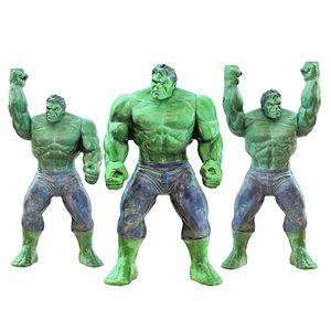 Three Toys Of The Cartoon Hulk Character 3D model