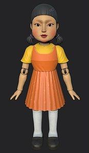 3D Squid Game doll Netflix Fan Art model