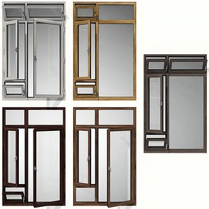 Swing stained glass wooden windows