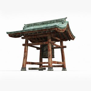 3D Ancient Asian bower with bronze bells model