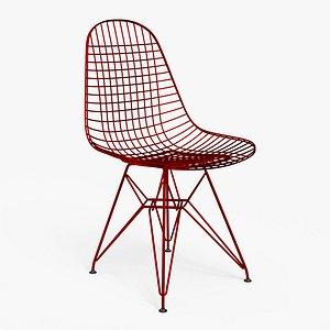 3D Wire Chair DKR Metallic Red - PBR model
