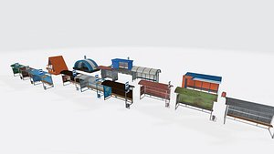 Busstop Pack 3D model