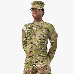 black female soldier green 3D model