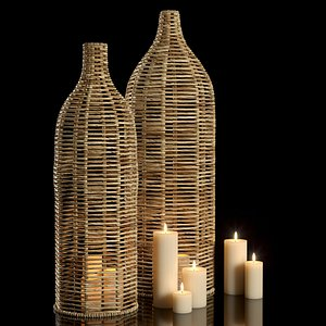 3D candle decor vases