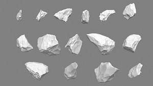 3D model Obsidian rocks HD pack - 15 pieces