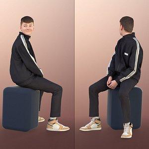 boy teen sitting 3D model