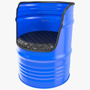 Oil Drum Barrel Upcycled Chair 3D model