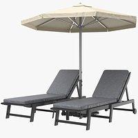 Sun Loungers With Umbrella