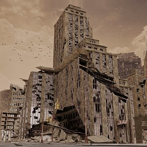 3D Ruined City Destroyed Cityscape