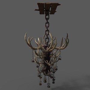 3D antler chandelier model