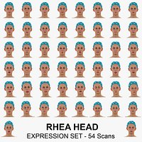 Rhea Real Head Full Expression Set 54 RAW Scans Collection