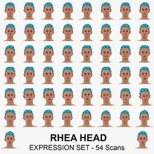 rhea real head expression 3D model