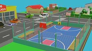 Low Poly 2D City Bonus 9 Vehicles 3D