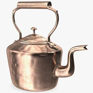 3D antique oval copper kettle