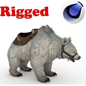 3D White polar BEAR Rigged