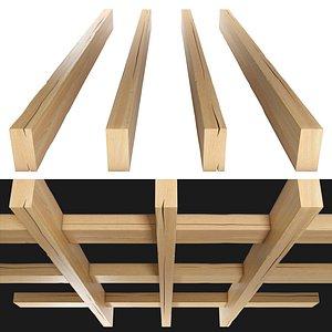 wood beam wooden 3D