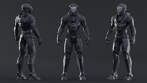Robot Soldier Character Low-Poly 3D