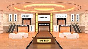 Virtual lobby 3D model