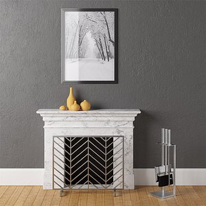 fireplace chevron screen 3D model