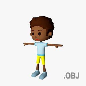 3D Boy Black - OBJ - Low Poly Quad