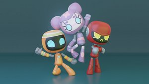 3D robots family rigged