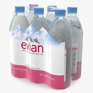 3D model evian mineral water 1l