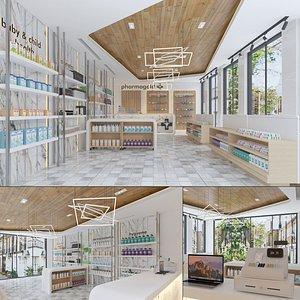 Modern Pharmacy Interior 3D
