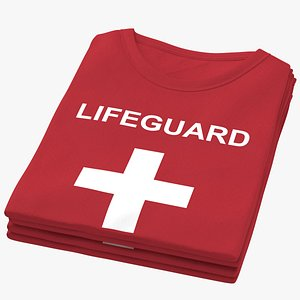 Female Crew Neck Folded Stacked Red Lifeguard 01 3D model
