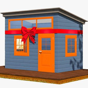 3D wooden children s playhouses model