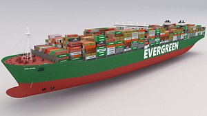 Ever Given Evergreen Container Ship 3D model