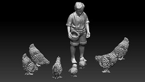 3D model boy and chicken