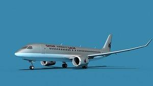 3D Bombardier CS100 Qatar model