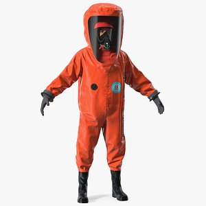 Heavy Duty Chemical Protective Suit Neutral Pose Red 3D model